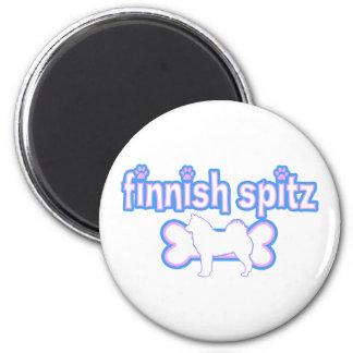 Pink & Blue Finnish Spitz 6 Cm Round Magnet