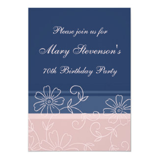 Pink Blue Floral 70th Birthday Party Invitations