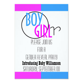 Pink blue gender reveal party modern card