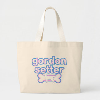 Pink & Blue Gordon Setter Large Tote Bag
