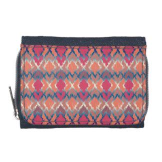 Pink Blue Gradient Geo Tribal Ikat Diamond Pattern Wallets