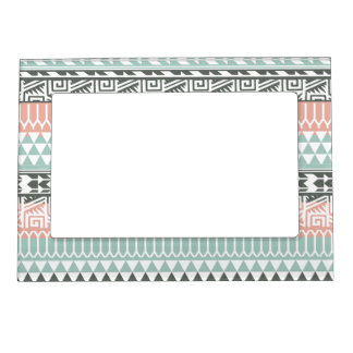 Pink Blue Gray Abstract Aztec Tribal Print Pattern Magnetic Frame