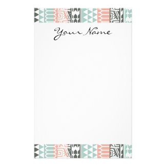 Pink Blue Gray Abstract Aztec Tribal Print Pattern Stationery