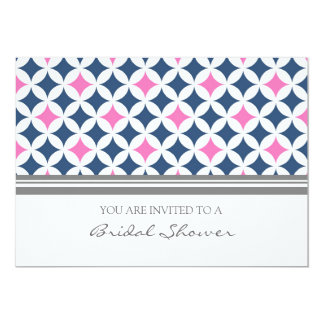 Pink Blue Gray Pattern Bridal Shower Invitation