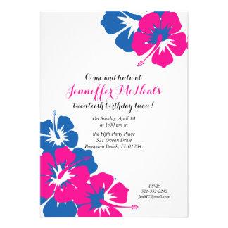 pink blue LUAU BIRTHDAY invitation 3