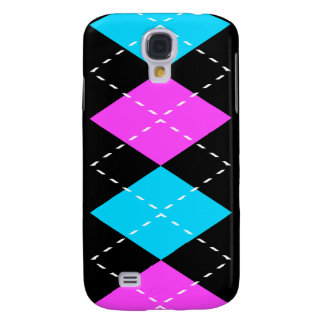 Pink, Blue On Black Argyle iPhone3 Case