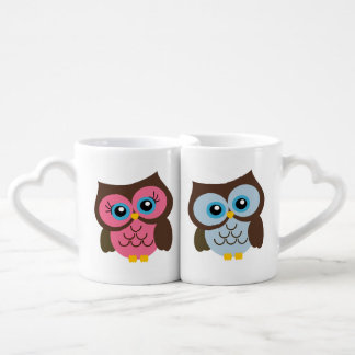 Pink & Blue Owl Custom Heart Lovers Mug Set
