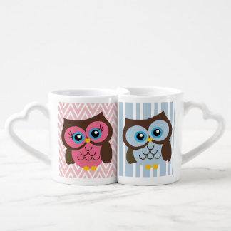 Pink & Blue Owl Heart Lovers Mug Set