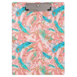 Pink Blue Peacock Feathers Clipboard