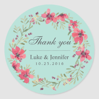 Pink Blue Watercolor Floral Wreath Wedding Sticker