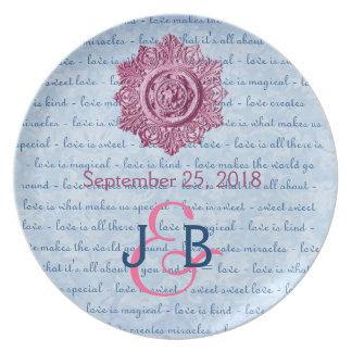 Pink Blue Wedding Memento Vintage Element Ver 2 Plate