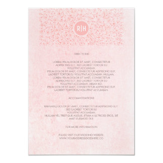 Pink Blush Vintage Floral Monogram Wedding Details Card