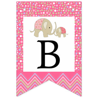 Pink Bohemian Elephant and Chevron Baby Shower Bunting