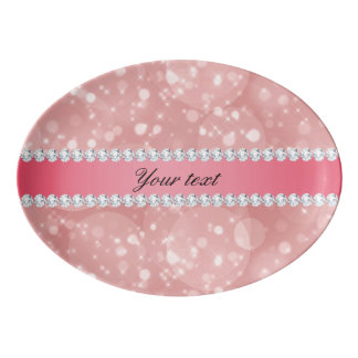 Pink Bokeh Sparkles and Diamonds Personalized Porcelain Serving Platter