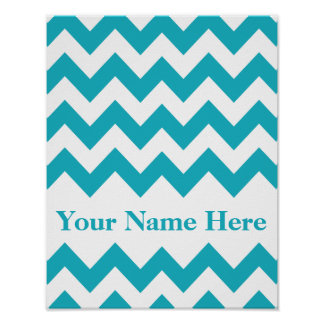 Pink Bold Chevron with name Poster