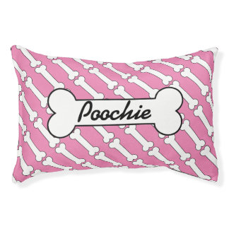 Pink bones personalized dog bed