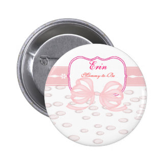 Pink Bow and Bubbles Baby Shower Buttons
