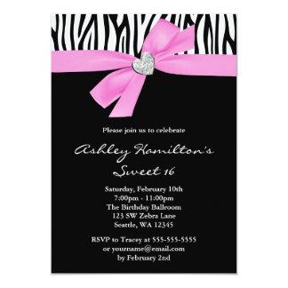 Pink Bow Diamond Heart Zebra Sweet 16 13 Cm X 18 Cm Invitation Card