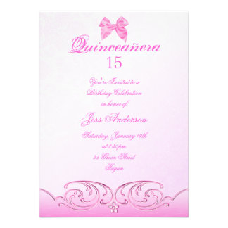 Pink Bow Quinceanera Birthday Invite