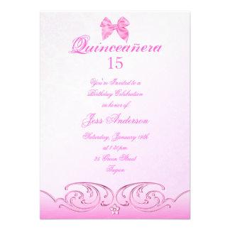 Pink Bow Quinceanera Birthday Invite