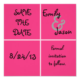 Pink Box Save the Date 5.25x5.25 Square Paper Invitation Card