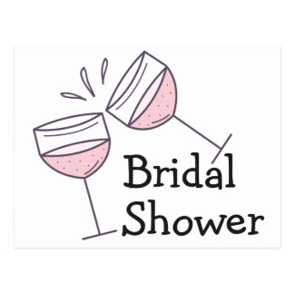 Pink Bridal Shower Champagne Wine Glasses Postcard