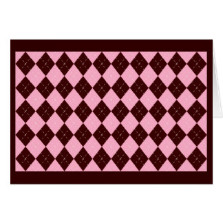 Pink Brown Argyle Thank You Card