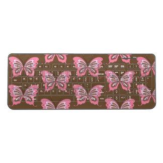 Pink Brown Butterfly Wireless Keyboard