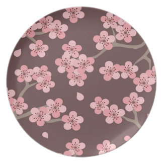 Pink Brown Cherry Blossom Plate