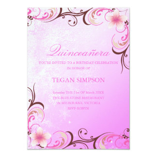 Pink/Brown Frangipani Quinceañera Birthday Invite