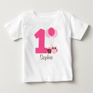 Pink Brown Owl Polka Dot 1st Birthday Girl Baby T-Shirt