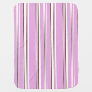 Pink Brown Stripe Girls Buggy Blanket