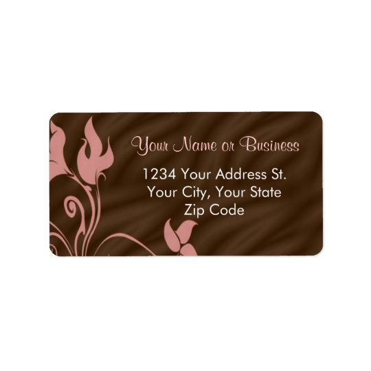 Pink Brown Swirl Address Label