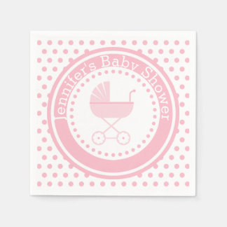 Pink Buggy Baby Shower Paper Serviettes