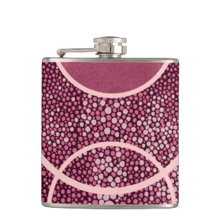 Pink Burgundy Shagreen & Leather Hip Flask