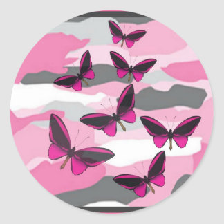PINK BUTTERFLIES AND CAMO PRINT CLASSIC ROUND STICKER