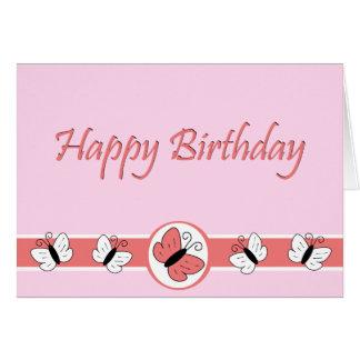 Pink Butterflies Happy Birthday Note Card