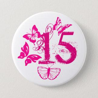 Pink butterflies, pink '15' button age 15.