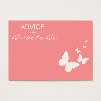 Pink Butterfly Advice for the Bride to Be Cards