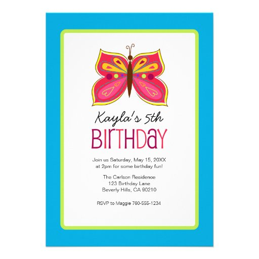 Pink Butterfly Birthday Party Invitaitons Announcement