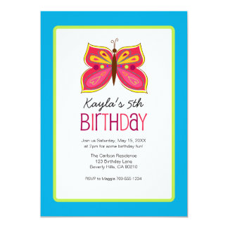 Pink Butterfly Birthday Party Invitaitons 13 Cm X 18 Cm Invitation Card