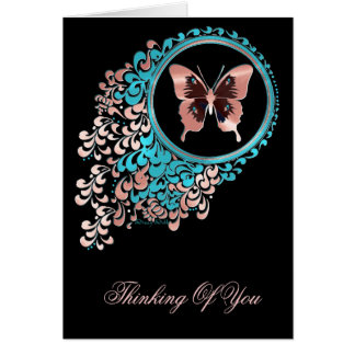 Pink butterfly greeting card