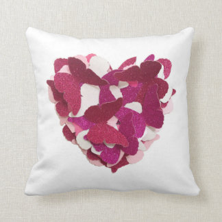 Pink Butterfly Heart Cushion