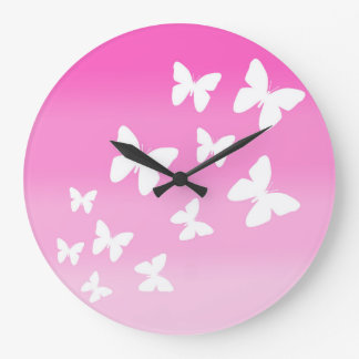 Pink Butterfly Ombre Fade Girl Wall Clock