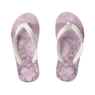 Pink Butterfly Pattern Fractal Flip Flop Thongs