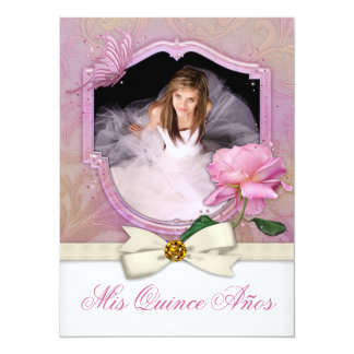 Pink Butterfly Rose Quinceanera 14 Cm X 19 Cm Invitation Card