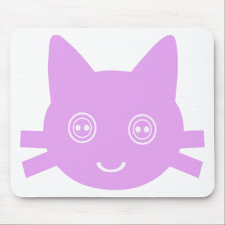 Pink Button Eyed Cute Happy Kitty Cat Mouse Pad
