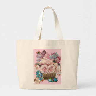 Pink Cabbage Roses with Turquoise Large Tote Bag