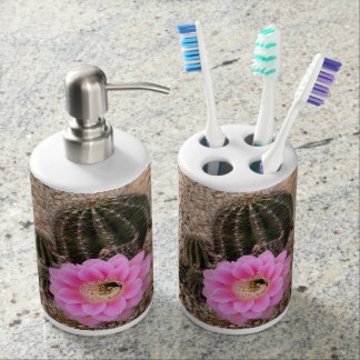 Pink Cactus Bloom Toothbrush Holder Soap Dispenser