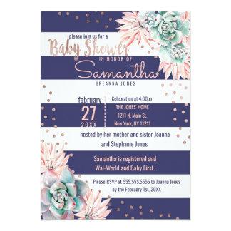 Pink Cactus Navy Stripes Rose Gold Baby Shower Card